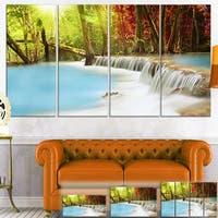 Designart 'Blue Waters of Huai Mae Kamin Waterfall' Landscape Canvas Wall Art - Blue