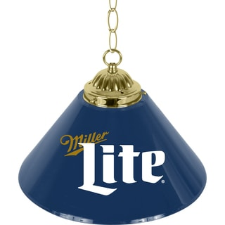 Miller Lite Retro Logo 14-inch Single Shade Brass Bar Lamp