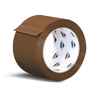 6 Rolls 3-inch x 55 yards Tan Packing Tape 1.8 Mil + Free 2-inch Tape Gun Dispenser