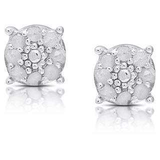 Finesque Sterling Silver Diamond Accent Circle Stud Earrings