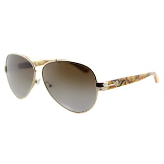 Tory Burch TY 6031 101T5 Brown Gradient Polarized Lens Printed Gold Metal Aviator Sunglasses