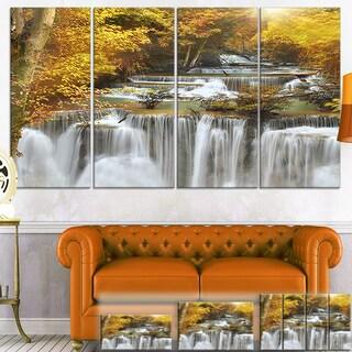 Designart 'Autumn Huai Mae Kamin Waterfall' Canvas Art Print