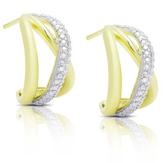Finesque Gold Over Silver Diamond Accent Infinity Design Hoop Earrings