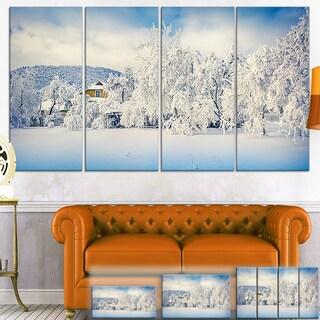 Designart 'White Winter Mountain Landscape' Photo Canvas Wall Art