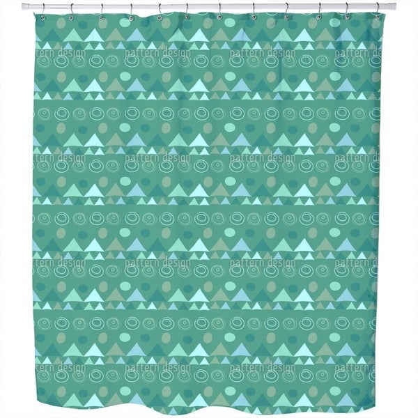 Triangles In Green Shower Curtain