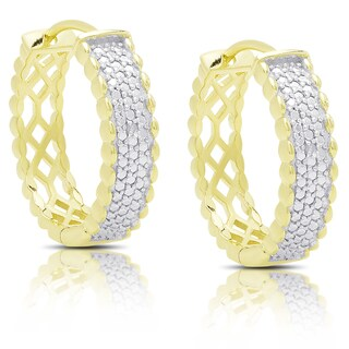 Finesque Gold Over Silver Diamond Accent Hoop Earrings