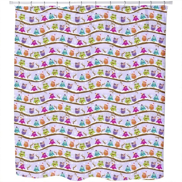 The Cute Winter Owls Shower Curtain