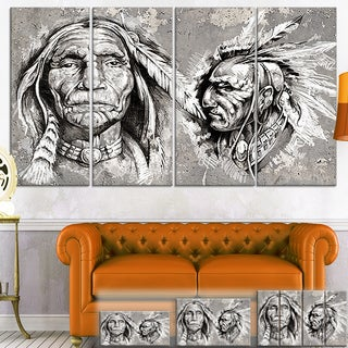 Designart 'Native American Indian Heads' Portrait Digital Art Canvas Print