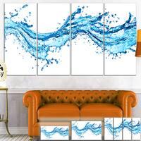 Designart 'Blue Water Splashes' Abstract Digital Art Canvas Print