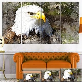 Designart 'Eagle Head with Textures' Animal Digital Art Canvas Print