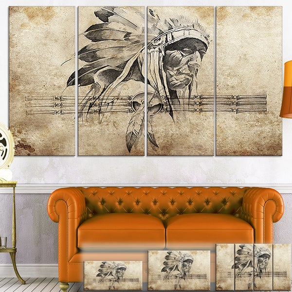 Designart 'American Indian Warrior Tattoo Sketch' Digital Art Canvas Print