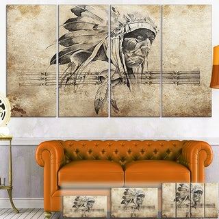 Designart 'American Indian Warrior Tattoo Sketch' Digital Art Canvas Print