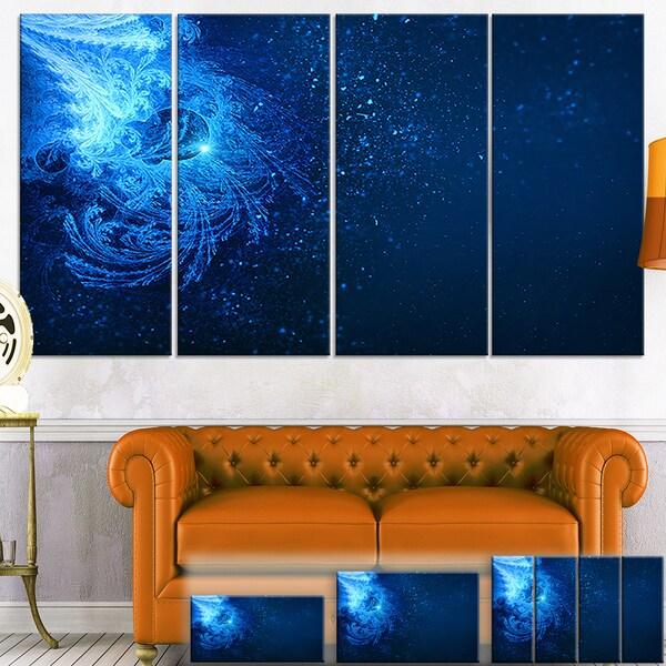 Designart 'Blue Falling Snow' Abstract Digital Art Canvas Print