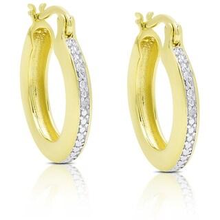 Finesque Gold Overlay Diamond Accent Hoop Earrings
