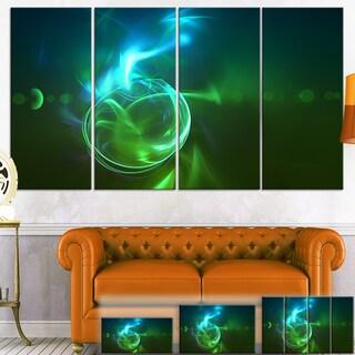 Designart 'Glowing Green Circles' Abstract Digital Art Canvas Print