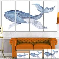 Designart 'Large Watercolor Whale' Animal Painting Canvas Print