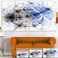 Designart 'Symmetrical Gold Blue Fractal Flower' Floral Art Canvas Print