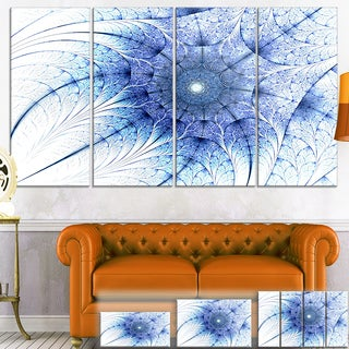 Designart 'Symmetrical Blue Fractal Flower on White' Abstract Canvas Print