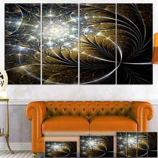 Designart 'Symmetrical Dark Golden Fractal Flower' Abstract Canvas Print