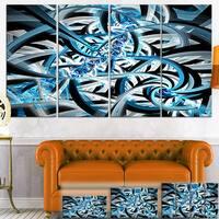 Designart 'Blue Spiral Fractal Design' Abstract Digital Art Canvas Print
