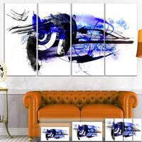 Designart 'Blue Stain Abstract' Modern Abstract Art Canvas Print