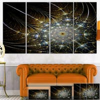 Designart 'Symmetrical Brown Fractal Flower' Digital Art Canvas Print