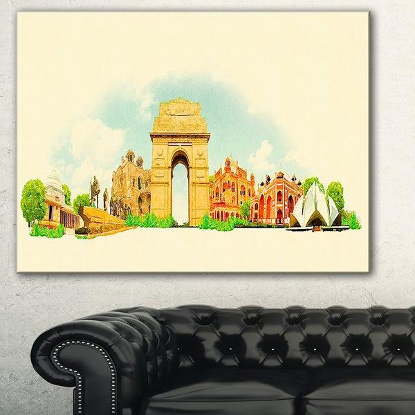 Designart \'Delhi Panoramic View\' Cityscape Watercolor Canvas Print ...