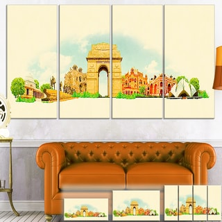 Designart 'Delhi Panoramic View' Cityscape Watercolor Canvas Print