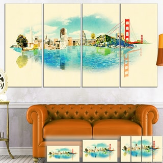 Designart 'San Francisco Panoramic View' Cityscape Watercolor Canvas Print