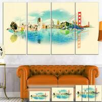 Designart 'San Francisco Panoramic View' Cityscape Watercolor Canvas Print - beige