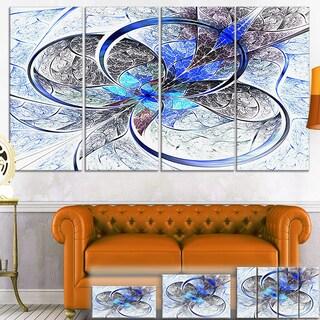 Designart 'Symmetrical Blue Fractal Flower' Digital Art Canvas Print