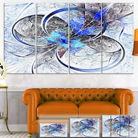Designart 'Symmetrical Blue Fractal Flower' Digital Art Canvas Print