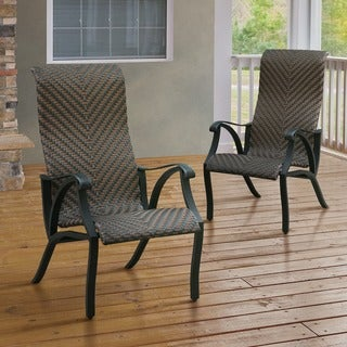 Furniture of America Camille Outdoor Wicker-Inspired Arm Chair (Set of 2)