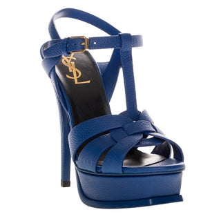 Saint Laurent Tribute Cobalt Leather Platform Sandals