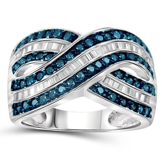 Jewelonfire Sterling Silver 1ct TDW Blue and White Diamond Crossover Ring ( I2-I3)