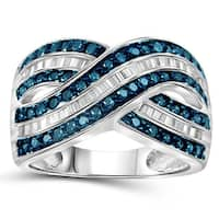 Jewelonfire Sterling Silver 1ct TDW Blue and White Diamond Crossover Ring