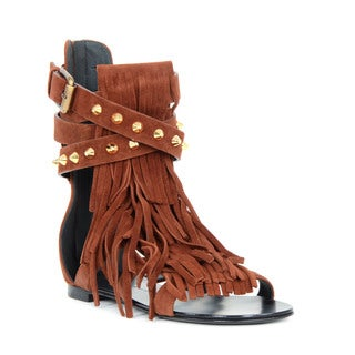 Giuseppe Zanotti Brown Suede Wrap Around Ankle Flat Sandals