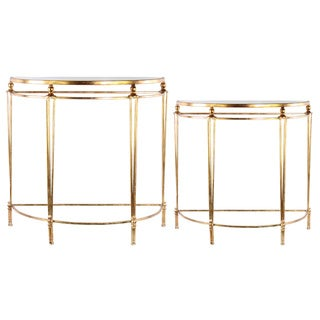 Metal Half Moon Nesting Console Table with Mirror Top Coated Finish Champagne (Set of 2)