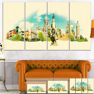 Designart 'Buenos Aires Panoramic View' Cityscape Watercolor Canvas Print