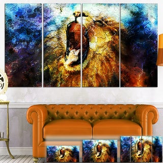 Designart 'Mighty Lion Emerging' Animal Art Canvas Print