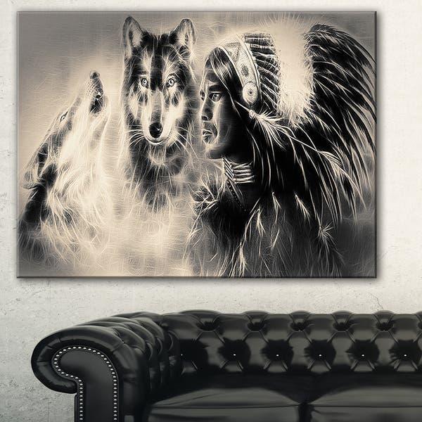 Designart Indian Warrior With Wolves Digital Art Canvas Print Overstock 11614954
