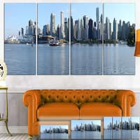 Designart 'Vancouver BC Skyline Panorama' Cityscape Photo Canvas Print - Blue