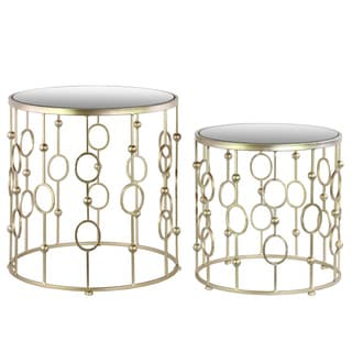 Metal Round Nesting Accent Table with Mirror Top Suspended Ring Design and Round Base Metallic Finish Champagne (Set of 2)