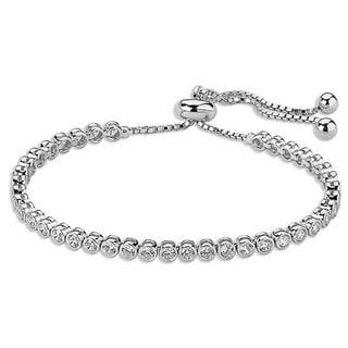 Sterling Silverplated Cubic Zirconia Bezel Set Tennis Bracelet