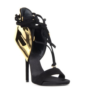 Giuseppe Zanotti Black Suede Heel Sandals with Gold Accent