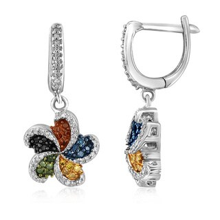 Jewelonfire Sterling Silver 1/2ct TDW Multi Color Diamond Earrings
