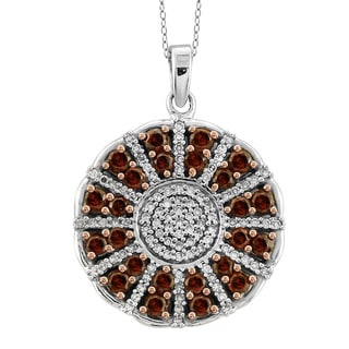 Jewelonfire Sterling Silver 1ct TDW Red and White Diamond Pendant ( I2-I3)