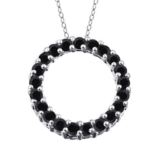 Jewelonfire Sterling Silver 1ct TDW Black Diamond Open Circle Pendant