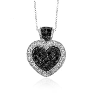 Jewelonfire Sterling Silver 1/2ct TDW Black and White Diamond Heart Pendant ( I2-I3)