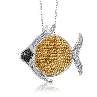 Jewelonfire Sterling Silver 1/10ct TDW White Diamond Fish Pendant ( I2-I3)